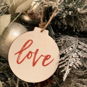 Farmhouse Love Christmas Tree Wood Ornament